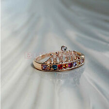 Women Light Lovely Cute Gold Plated Crown Color Crystal Rhinestone Ring CAJX