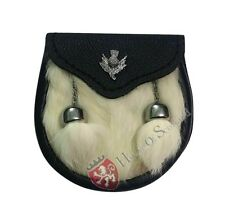 Child's Kilt Sporran White Rabbit Fur/Baby Kilt Sporrans/Kids Sporrans Thistle