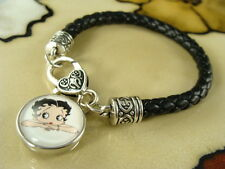 BETTY BOOP cartoon pinup snap button charm on black leather gift bracelet