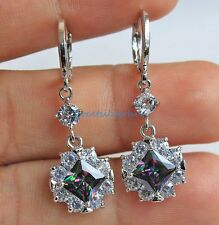 18K White Gold Filled - Square Peridot Mystical Topaz Pageant Dangle Earrings