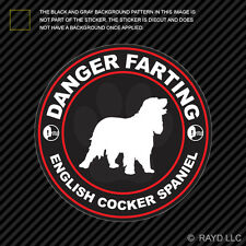 Danger Farting English Cocker Spaniel Sticker Decal Vinyl dog canine pet