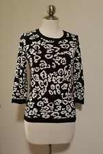 ANN TAYLOR WOMENS BLACK & WHITE Animal Print leopard SWEATER Top blouse S