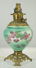 Converted Gone With The Wind Hand Painted Raspberry Oil Lamp No Shade