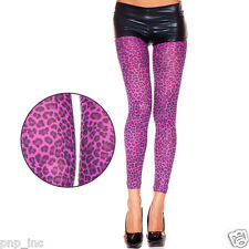 Stretchy Punk Rave Neon Color Purple Black Leopard Spots Animal Print Leggings