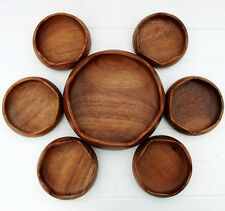 Vintage Retro Mid Century Monkey Pod Wooden Salad Dishes Bowls Set