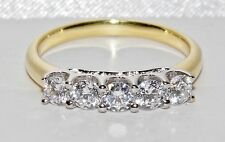 BEAUTIFUL 9 CT YELLOW GOLD & SILVER 1.00 CARAT 5 STONE ETERNITY RING - size S