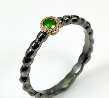 Handmade Ring Natural Chrome Diopside .925 Sterling Silver Ring Size 8.5