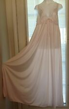 Vintage silky nylon lace shell pink Miss Elaine full sweeping long nightgown M