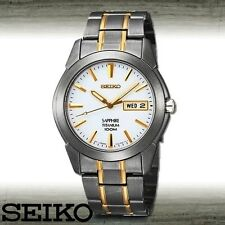 NEW MEN'S SEIKO FULL TITANIUM 2-TONE SAPPHIRE DAY/DATE ANALOG WATCH SGG733P1