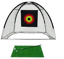 Golf Cage Net and Hitting Practice Mat Combo Easy Set Up Quick Pop Net + 3x4 Mat
