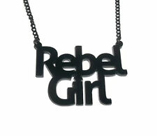 Rebel Girl Necklace, Riot Girl, Bikini Kill Black Perspex Pendant