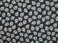 SKULLS GLOW IN DARK SKULL BLACK WHITE COTTON FABRIC BTHY