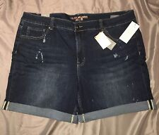 Seven7 Jean Shorts Plus Size 16 Cuffed Denim Slimming System 16W Womens NWT $79