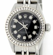 Ladies Rolex Stainless Steel Oyster Perpetual No-Date Watch Diamond Black 6718