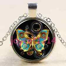 Steampunk Butterfly Cabochon Tibetan silver Glass Chain Pendant Necklace @2770