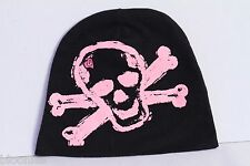 Pinkaxle Black Baby Beanie Hat w/ Pink Skull & Crossbones size 2T-4T