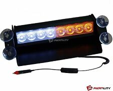 8 LED Amber White Light Emergency Car Vehicle Warning Strobe Flashing Yellow