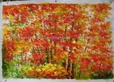 New Palette Knife Oil Painting Paintings Canvas Art Golden Red Maple Fall Autumn