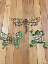 Colorful Creatures Metal Wall Art Butterfly Frog Dragonfly Sparkling Gems Decor