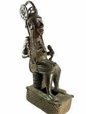 AFRICAN TRIBAL ANTIQUE BENIN CAST BRONZE KING OBA FIGURE