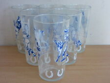 Rare Vintage Set of 6  Baltimore Colts Glasses Cups Hi-Ball tumblers  5 1/8""