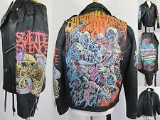 Hand Painted Leather Biker Jacket Death Metal All Shall Perish Zombies XL