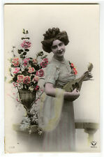 c 1910 Glamor Young BEAUTY w/ MANDOLIN Pretty Music lady tinted photo postcard