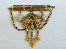 Deco style Goldtone bar pin brooch with chain & art glass beads charms