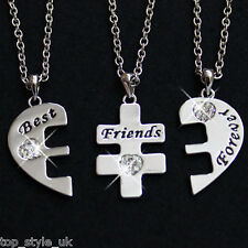 Three Best Friends Necklace RRP£49 Bestfriends 4 Life Crystal Heart Pendant Cute
