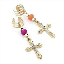 Pretty 2 set gold tone & neon pink - orange bead & crystal cross ear cuffs *NEW*