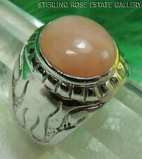Unconditional Love ROSE QUARTZ Sterling Silver 925 Estate RING size  6