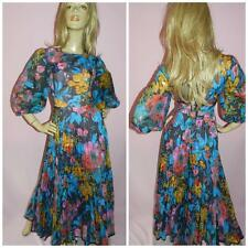 70s BOLD FLOWER POWER ACCORDION PLEATED MAXI DRESS 12 M 1970s EVENING PARTY
