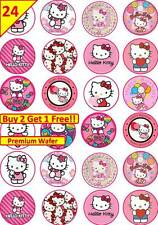 24 Hello Kitty Fiesta Cumpleaños Hada Cup Cake Toppers Comestibles Papel Arroz Oblea/