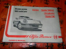 Alfa Romeo Spider 1989 Owner's Manual