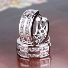 18k white gold filled white two-row Simulated Diamond well-liked hoop earring