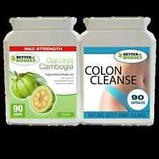90 GARCINIA CAMBOGIA 1000MG 90 DETOX COLON INNER CLEANSE WEIGHT LOSS DIET PILLS
