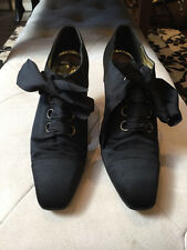 Chanel 37 1/2 Black Satin Lace Up Ribbon Shoes Vintage 1990s