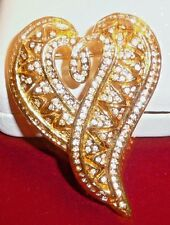 "Gorgeous Vintage Style Large Clear Crystals Goldtone Heart Brooch, 2.5"" x 1.75"""