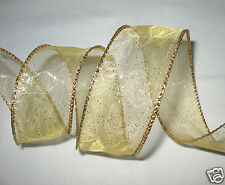 Wired Ribbon Gold Sheer Glitter -Gold Edge - Christmas - Wreath - Bows 4 Yds