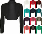 NEW WOMENS LADIES PLUS SIZE CROPPED LONG SLEEVE CARDIGAN SHRUG BOLERO JACKET