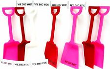 "24 ""We Dig You"" Stickers & 8 each Red White Pink Toy Shovels Mfg USA"