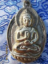 "LARGE 2 1/4"" MOLDED BRASS SITTING BUDDHA KEY CHAIN STAINLESS CHAIN & RING NEPAL"