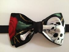 Handmade Day of the Dead Skull & Roses Print Mens Black Bow Tie Halloween Gothic
