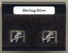 Witch On Broomstick Sterling Silver 925 Studs Earrings Carded