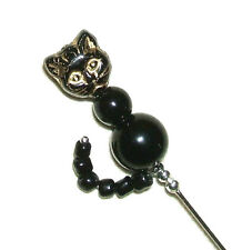 BLACK CAT w TAIL CZECH GLASS Stick Hat Pin Long Hatpin SILVER Plated