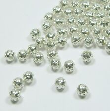 100 Shiny Silver Plated Brass Beads 5mm Round with Weave Spacer Metal
