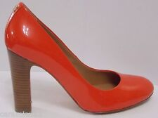 Coach Carnelian Patent Leather Pumps Dark Orange Red Sue Stacked Heels size 7.5
