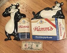 Two Vintage Hamm's Beer Sign Vacuform Bear