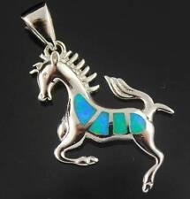 Lovely Blue Fire Opal Horse Fashion Jewelry Silver Women Pendant 1 1/2'' OP34