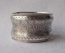 *RAR* Grosser Serviettenring Guten Appetit Guillochedekor 13 Lot Silber um 1870